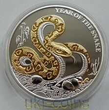 2013 Lunar Togo Year of the Snake 1 Oz Silver Proof Gilded Coin 蛇 Chinese Zodiac