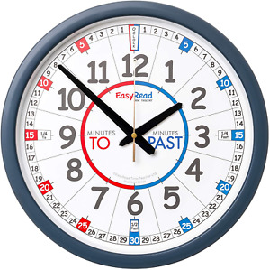 EasyRead Time Teacher Learn The Time School Classroom Past/to Wall Clock