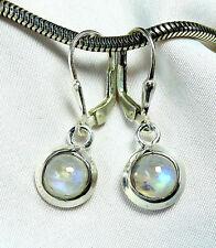 Mondstein Ohrhänger 925 Silber Klappbrisur kleine, runde, blaue Steine UNIKAT