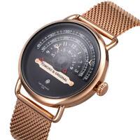 Unique Design Dial Mens Quartz Watch Sport Date Creative Swiss Wristwatch Steel
