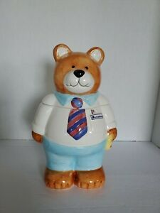 Vintage TEDDY BEAR COOKIE JAR Mr. Reliable Beautiful Jar Hand Painted