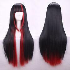 Rouge&noir Femme Straight Wig Longue Cheveux Droite Raide Perruque 65cm Cosplay