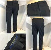 Brooks Brothers Dress Pants 34x28 Blue 100% Wool Flat Front EUC YGI E8-21