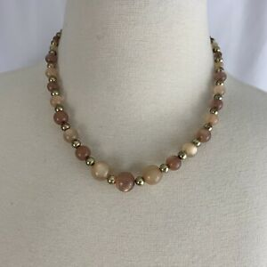 Brown Beige Moonglow Lucite Style Beaded Necklace Single Strand Gold Tone