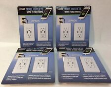 4 Packs of 2-Pack Feit Electric Wall Outlets with 2 USB Ports - New In Box