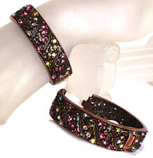 Rubbed Bronze Luk Vintage Deco Nouveau Filigree Bangle Cuff w/ Swarovski Crystal