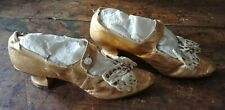 Pair Of Antique Victorian Gold Kid Leather Evening Or Bridal Shoes