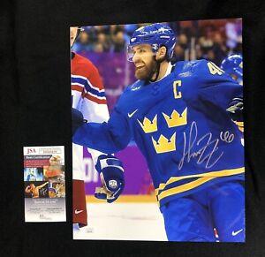 Henrik Zetterberg Signed Detroit Red Wings Olympics Sweden 11x14 Photo JSA COA