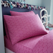 Girls, Deep Pink, Patterned Single Fitted Sheet and Pillowcase