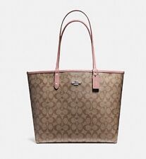 NEW Coach REVERSIBLE CITY TOTE IN SIGNATURE   Khaki And Pink