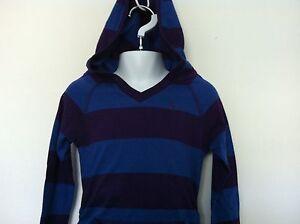 Ralph Lauren Girls Shirt Blue Purple Stripe Hoodie LS Ruched Kangaroo Pkt 5 NWT