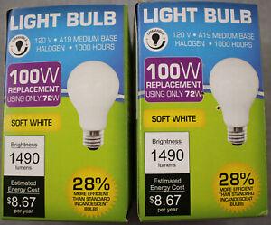 (2) 72W (100W) 2700K Soft White 1490 Lumen Indoor Outdoor Halogen Light Bulb NEW
