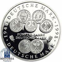 BRD 10 DM 50 Jahre Deutsche Mark 1998 Silber Spiegelglanz Münze in Münzkapsel