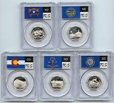 2006 Colorado Nebraska Nevada Dakotas SILVER State Flag Set 5-Coin PCGS PR70DCAM