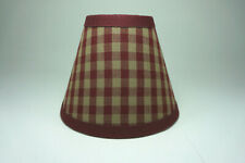 Country Burgundy Medium Check Fabric Chandelier Candle Lampshade Lamp Shade