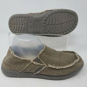 Crocs Kaleb Slip On Canvas Loafer Shoe Brown 11037 Mens Size 8