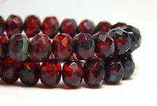 25 Ruby Red Beads 8x6mm Rondelle Czech Glass Christmas Valentines Dark T-75C