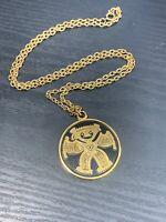 Ladies Men's Vintage Gold Tone Tribal Mayan  Pendant Necklace West Germany