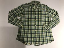 Carbon 2 Cobalt Long Sleeve Button Front Shirt Green Check Mens Medium