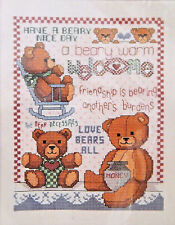 Janlynn Beary Welcome 78-4 Teddy Bear Counted Cross Stitch Kit Sealed Vintage