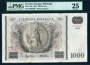 Sweden 1952, 1000 Kronor, P46a, PMG 25 VF