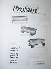 ProSun Tanning Bed User Manual Jade Soleo Azure 30 Minute Beds Pro Sun