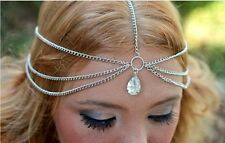 Fashion Boho Silver RHINESTONE Headdress Hair Head Chain Band Jewelry
