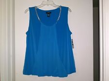"""ALFANI"" LADIES BEAUTIFUL SLEEVELESS MODERN TEAL TOP (SIZE: LARGE)"