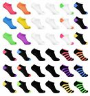 6 Pairs Women's Low Cut No Show Ankle Socks White Black Neon Wholesale lot 9-11