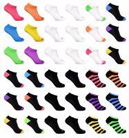 6 Pack Women's Low Cut No Show Ankle Socks White Black Neon Wholesale lot 9-11
