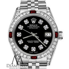 Ladies Rolex 26mm Datejust Black SS Dial With Ruby & Diamond Bezel Accent Watch