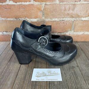 DANSKO NEVIN Black Leather Mary Jane Clog Heels Womens Size 37 (6.5-7 US)