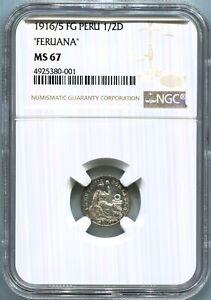"Peru - 1916/5 FG ""FERUANA"" 1/2D NGC MS67"