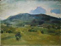 Russian Ukrainian Oil Painting Impressionism landscape clouds mountain village