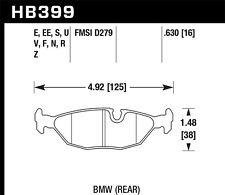 Disc Brake Pad Set-HPS Disc Brake Pad Rear Hawk Perf HB399F.630