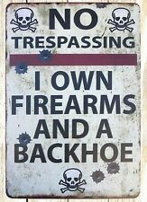 US SELLER- No Trepassing I Own Firearms tin metal sign garden reproductions