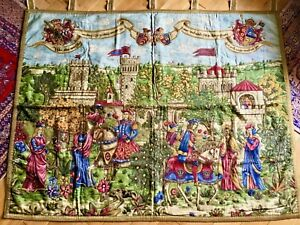 VINTAGE ATTRACTIVE GERMANIC - MEDIEVAL THEME - WALL HANGING TAPESTRY