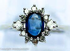 1.01ct Sapphire Diamond 14K White Gold Princess Diana Style Engagement Ring