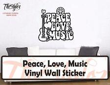 Peace, Love, Music Custom Vinyl Wall Sticker