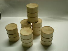 """15 WOOD OIL DRUM  for crafts* toys * miniatures Size 1-1/8"""" dia. x 1-5/8"""" h"""