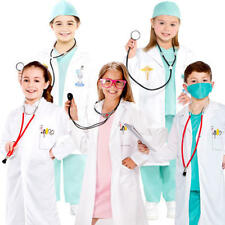 Surgeon Doctor Kids Fancy Dress Hospital Occupation Uniform Childrens Costumes