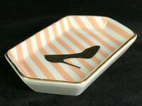 Rosanna Trinket Dish Peach and White Stripe Gold High Heel Shoe