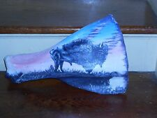 PINE RIDGE SD BUFFALO HAND PAINTED ON BONE SIOUX INDIAN ART VINTAGE SOUTH DAKOTA