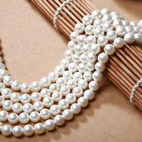 Genuine 6/8/10mm White South Sea Shell Pearl Round Loose Beads 15''