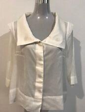 NIC NICOLA WAITE WOMEN'S SHEER WHITE SHIRT / BLOUSE /TOP SIZE 12 (2) 100% COTTON