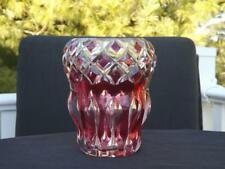 Antique Val St. Lambert Belgium Ruby Cranberry Clear to Cut Vase w Label EXC