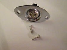 Chrome Oval Shape Guitar Output Jack Plate with Metric Jack, and Mounting Screws