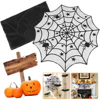 """40"""" Round Black Lace Spiderweb Table Topper Cloth Halloween Party Dinner Decor"""