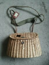 New listing Antique Fishing Anglers Wicker Creel Basket W/Shoulder Strap