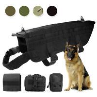 Tactical Dog Vest K9 Molle Military Harness 3 Pouch Bags Adjustable Nylon Vest